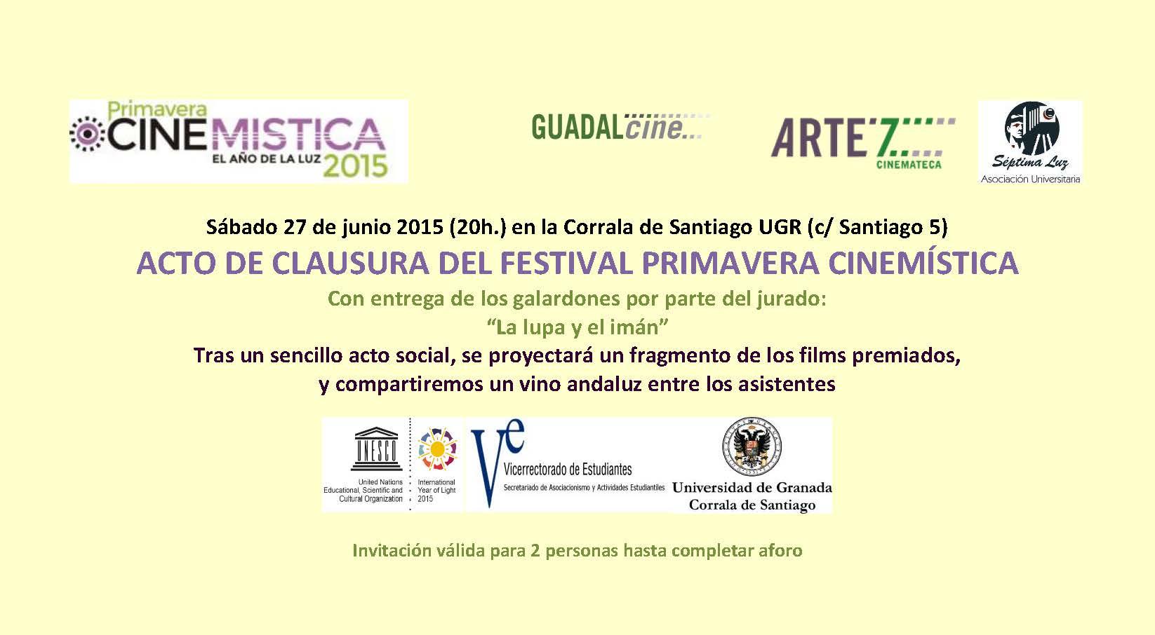 Invitaciones clausura Sábado 27 de junio 2015 - individual